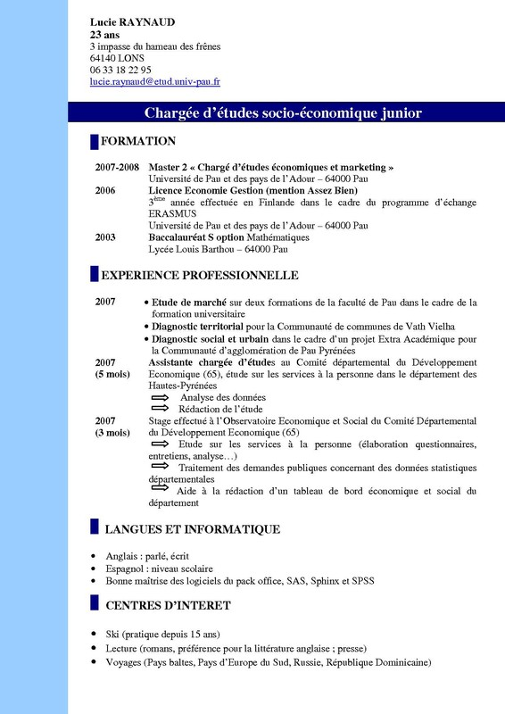 exemple de cv charge d u0026 39 etudes en marketing