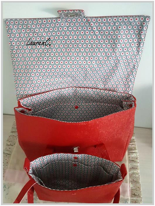 SAC SIMILI BUBBLES ROUGE + ORGANISEUR INTERIEUR 2