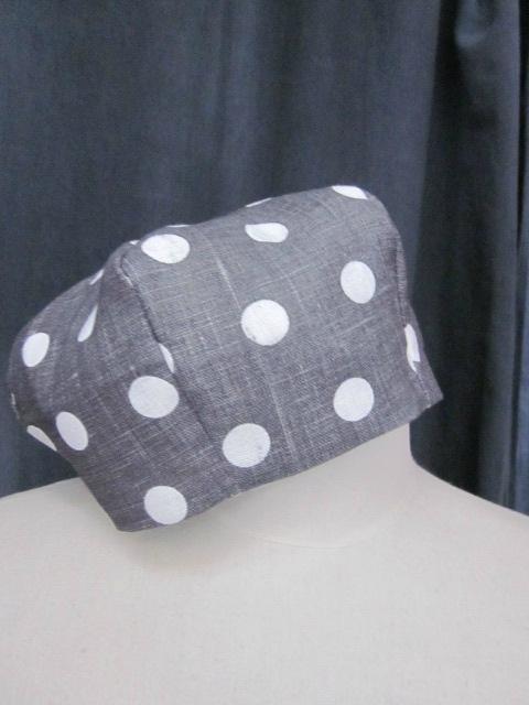 Chapeau AGATHE en lin gris à pois blancs (2)