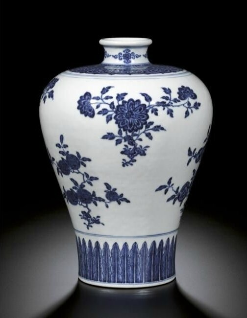 A blue and white 'fruit' meiping, Seal mark and period of Qianlong