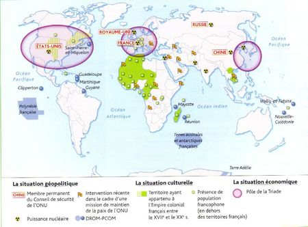 La France dans le monde géopolitique, culturelle, économique