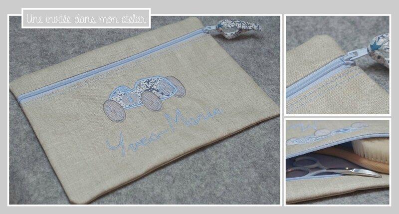 trousse plate-personnalisée-Liberty-adelajda bleu-cadeau de naissance