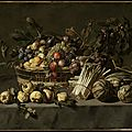 Attributed to frans snyders (flemish, 1579–1657), vegetables and a basket of fruit on a table