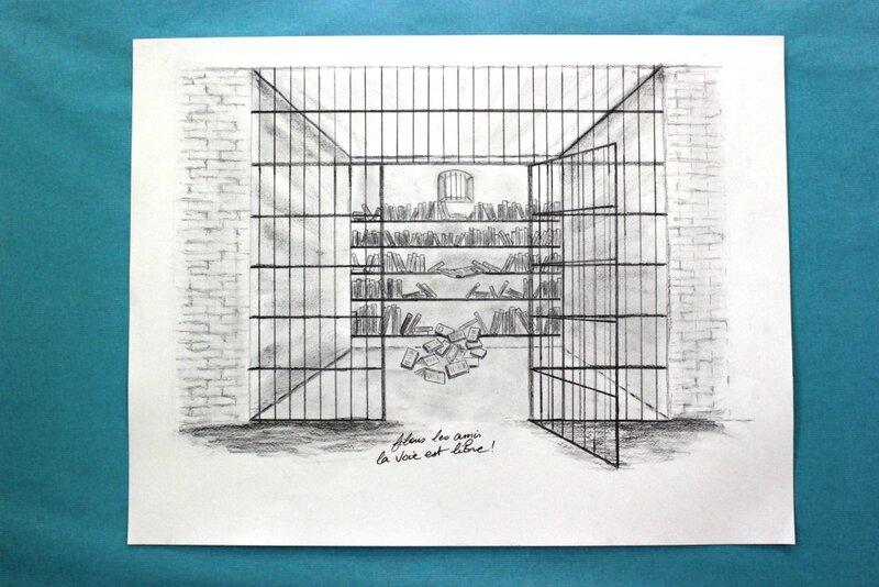 dessin pour les 10 ans de la bibliothèque de Coulommiers Clicfoto Francis Dechy le 8 octobre 2013