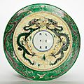 Chinese Famille Verte Glazed Porcelain Dragon Charger, Kangxi Six-Character Mark and of the Period 2