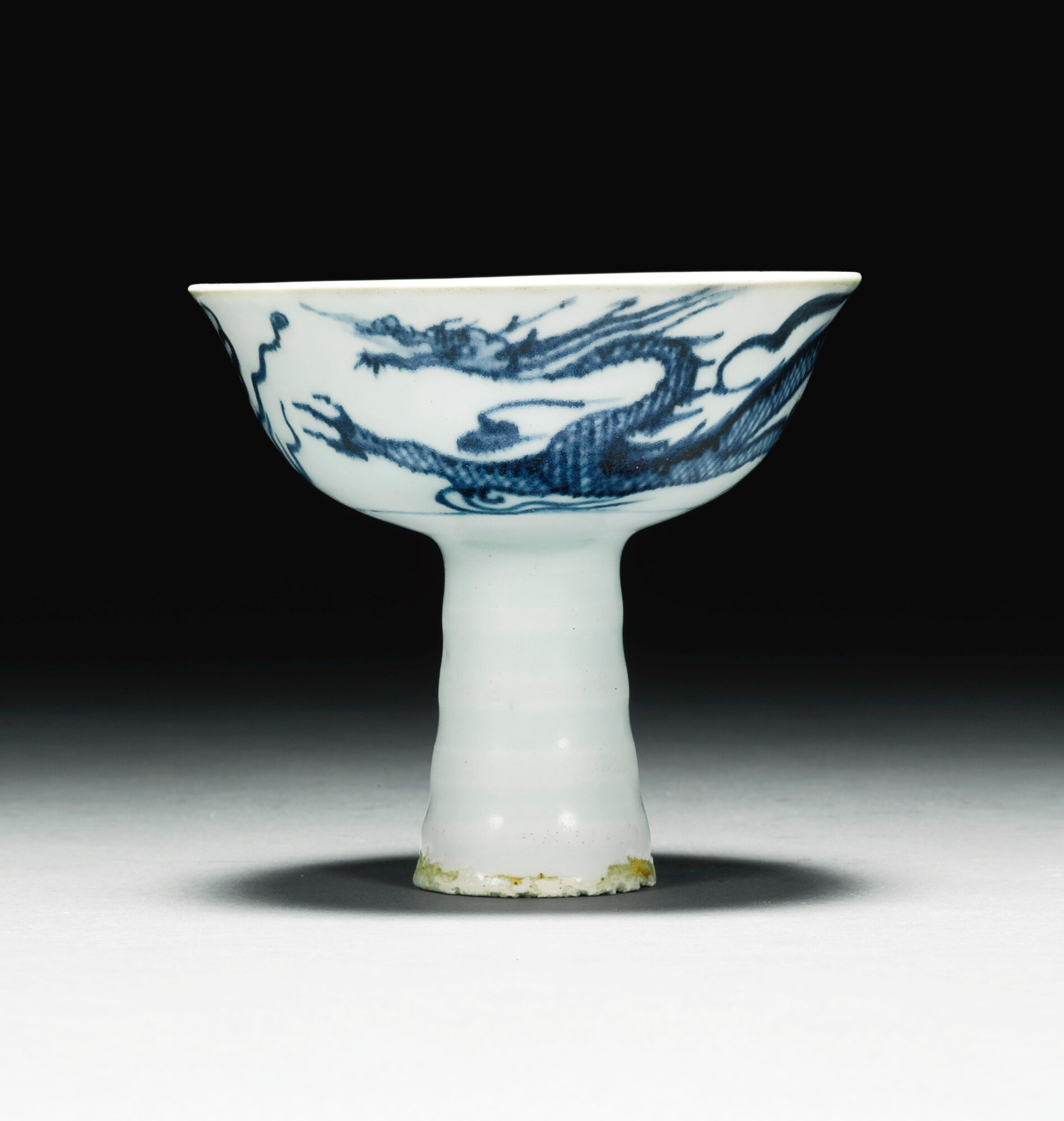 A blue and white 'dragon' stemcup, Yuan dynasty