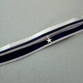 Bracelet manchette multi-rangs bleu et argenté