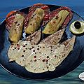 Filets de maquereaux à la crème de moutarde, fenouil confit et carpaccio de chorizo