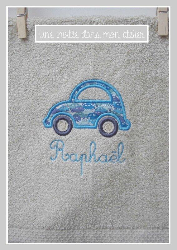 petite serviette de toilette-personnalisée-Liberty cars blue