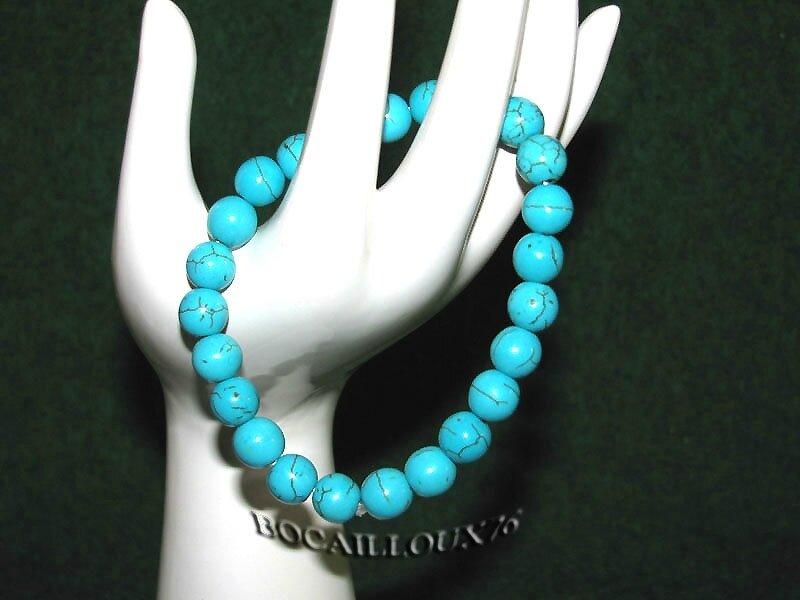Bracelet HOWLITE Turquoise Perles 3 (4)