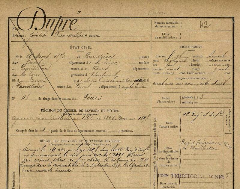 Dupré Francisque, fiche matricule (1)