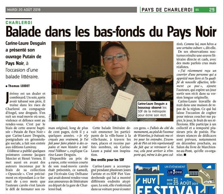 PUTAIN DE PAYS NOIR (Editions Lamiroy) dans Vers L'Avenir du mardi 20 août 2019
