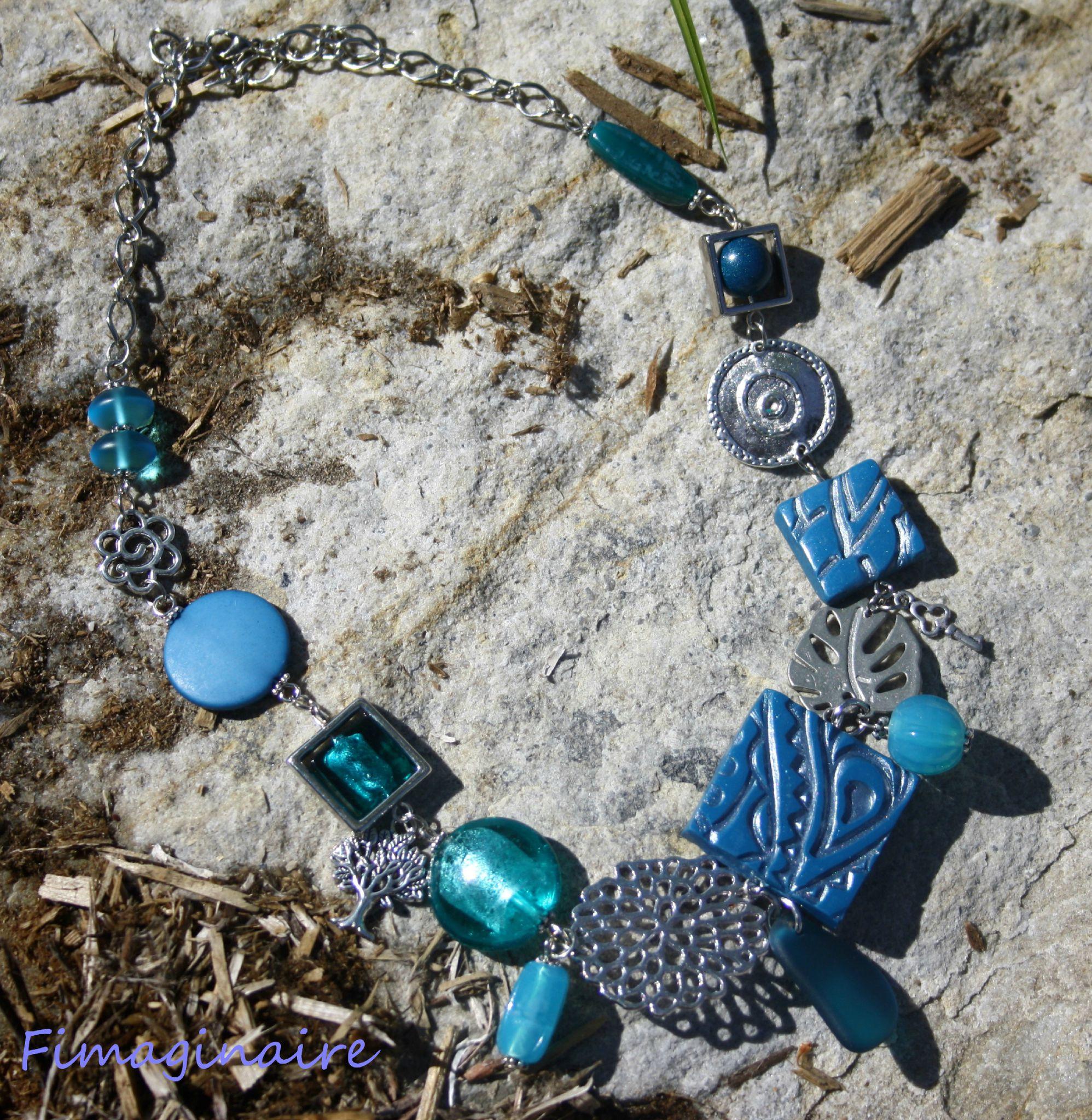 Collier bleu paon et métal - 30$
