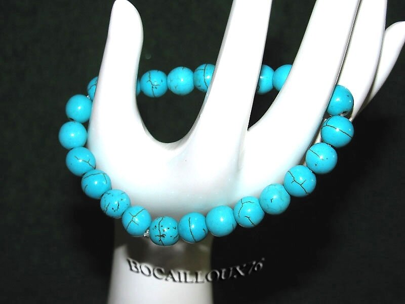 Bracelet HOWLITE Turquoise Perles 6 (4)