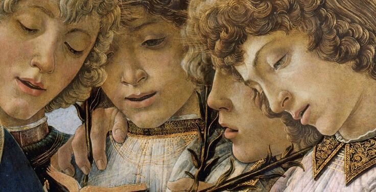 Botticelli Mary an the child and singing anges detail