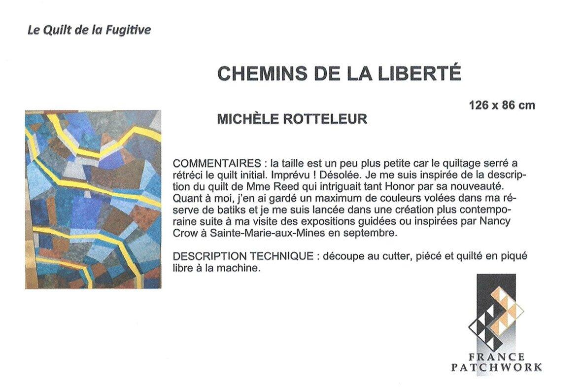 01-Michèle ROTTELEUR -Chemins de la liberté- Quilt de la Fugitive
