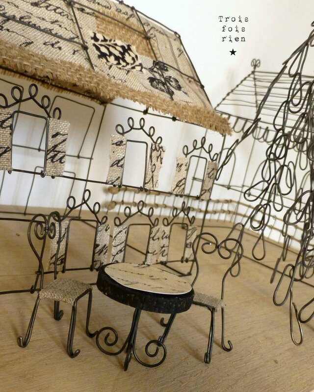 There is no place like home, wire art, fil de fer, wire, wire tree, wire house, wire church, trois fois rien 3