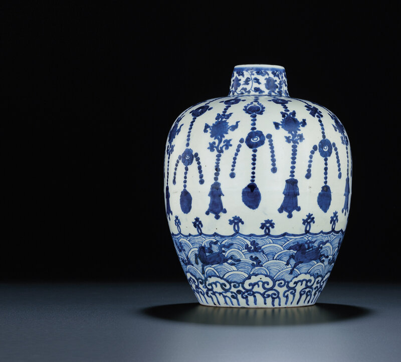 A Ming blue and white oviform jar, Jiajing six-character mark and of the period (1522-1566)