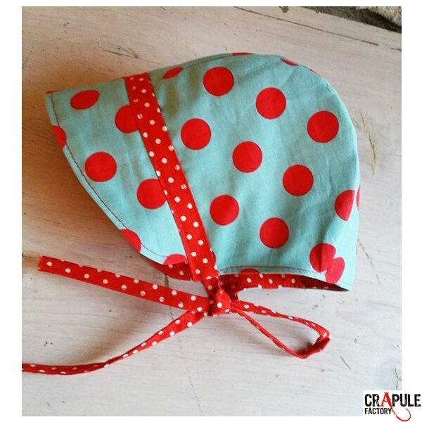 Beguin / bonnet renfant original retro bleu pois rouge crapule factory