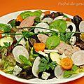 Salade de feuille de chêne aux aiguillettes de canard et bleu d'auvergne