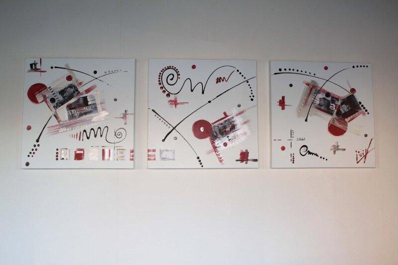 tableau contemporain triptyque : Me You Us