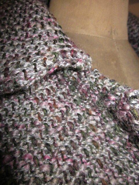 Maanteau AGLAE en lainage chiné gris et rose (7)