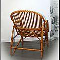 fauteuil vintage en rotin des années 50