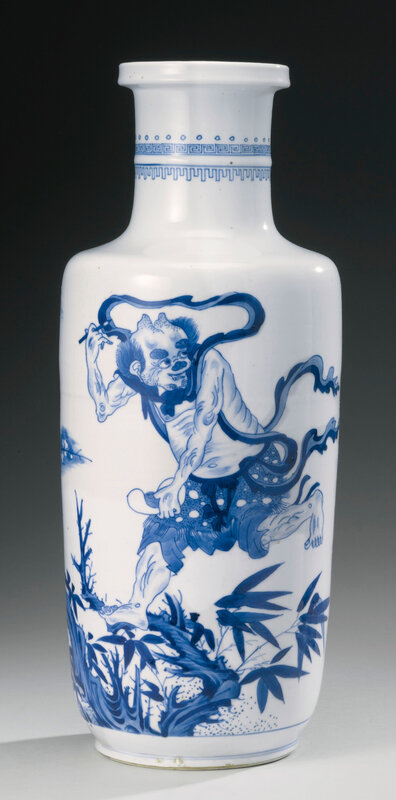 A Blue And White 'Kuixing' Rouleau Vase, Qing Dynasty, Kangxi Period (1662-1722)