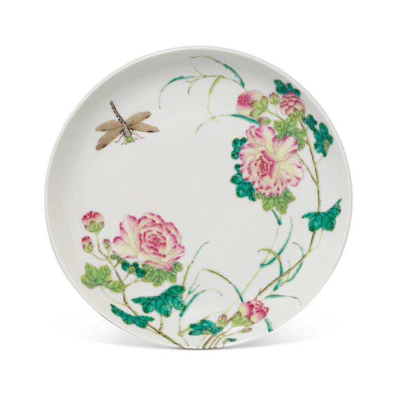A famille rose 'Dragonfly and Rose' dish, Xuantong six-character mark in underglaze blue and of the period (1908-1911)