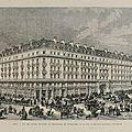Vue des grands magasins de nouveautés de Pygmalion, rue de Rivoli et boulevard Sébastopol en 1872