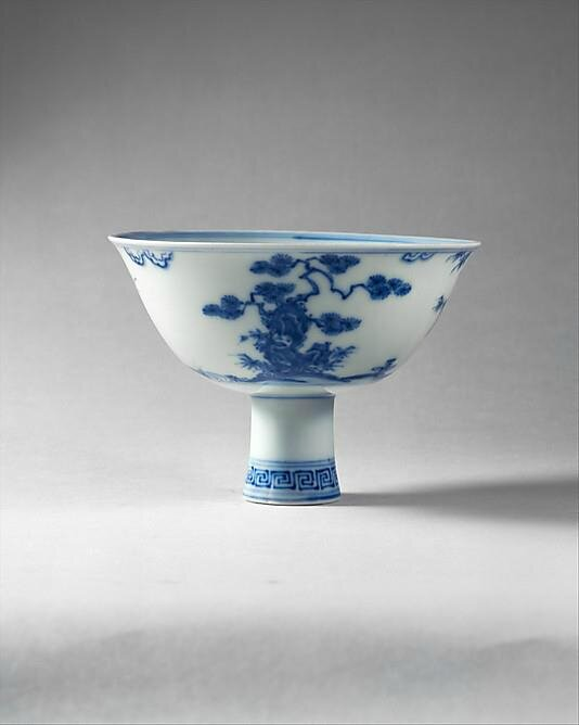 Stem Bowl. Porcelain painted in underglaze blue. Diam. 6 1/4 in. (15.9 cm); late 15th century. Ming dynasty (1368–1644), Chenghua period (1465–87). Gift of Mr. and Mrs. Stanley Herzman, 1990. Accession Number: 1990.291.3. The Metropolitan Museum of Art. ©