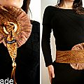 Cravate/ foulard & ceinture reversible or & velours