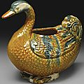 A Rare And Important Sancai And Blue-Glazed Pottery Goose-Form Vessel, Tang dynasty