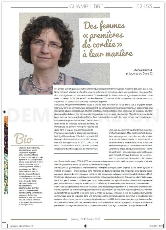 "Tribune Dfam 03 Le JA Mag donne le ""Champ libre"" au groupe d'agricultrices de l'Allier Merci !"