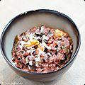 Risotto au riz violet, algues et moules