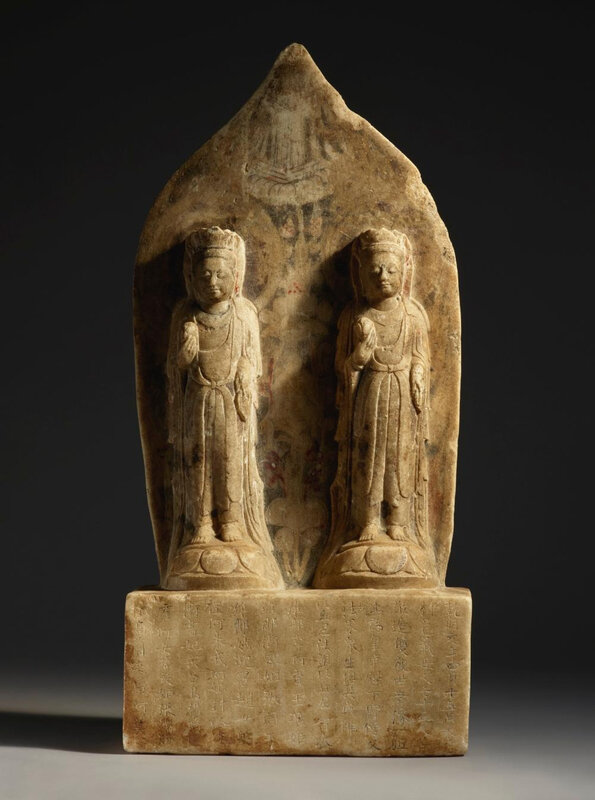 A painted marble double bodhisattva stele, Northern Qi dynasty, dated to the first year of the qianming period, corresponding to 560