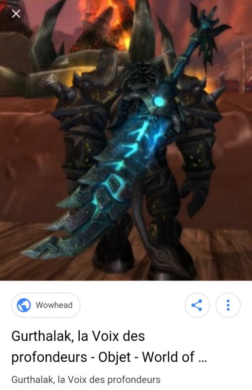 WoW épée Gurthalak Voix des profondeurs