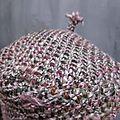 Béret SIMONE en maille chinée gris-vert-rose (4)