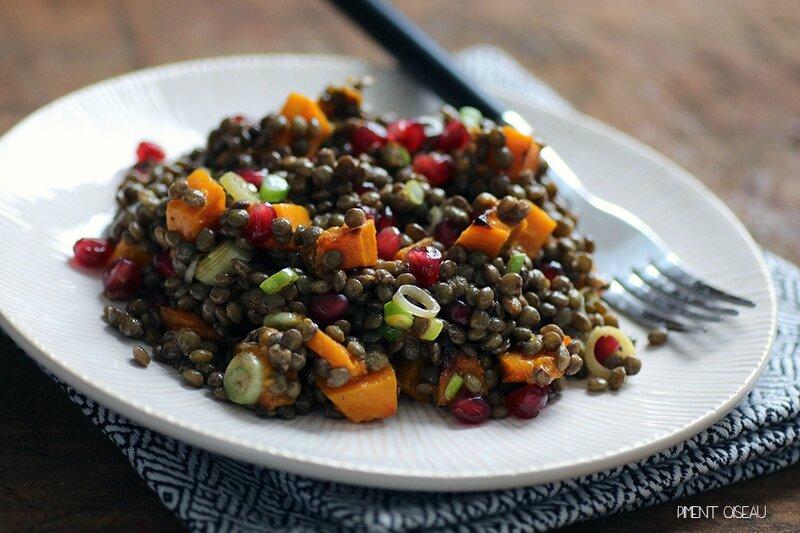salade de lentilles au potimarron rôti