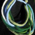 collier tricotin vert bleu