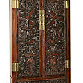A rare set of four hardwood dragon cabinets, qing dynasty