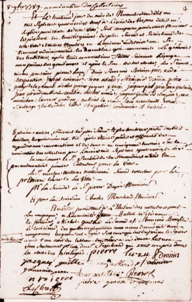 Le 8 novembre 1789 à Bonnétable : désignation des collecteurs pour 1790.