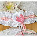 Jarretière romantique en dentelle rose et blanc papillon