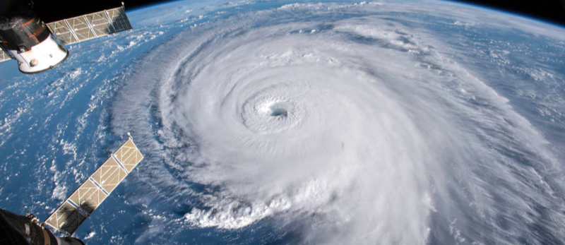 Florence mercredi 12 septembre 2018 à l'approche des côtes américaines (auteur NASA)