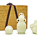 A set of three white jade vessels and covers, qing dynasty