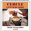 Invitation au cercle littéraire du 13 novembre 2018