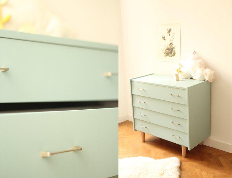 commode vintage années 60 50 bleue 4 tiroirs farrow & ball TRENDY LITTLE 2