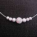 Collier cable blanc et perles blanches (strass
