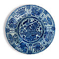 A large blue and white barbed-rim 'floral' kraak dish, late ming dynasty