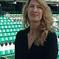 Avec Stefanie Graf sur le court de tennis à Roland Garros